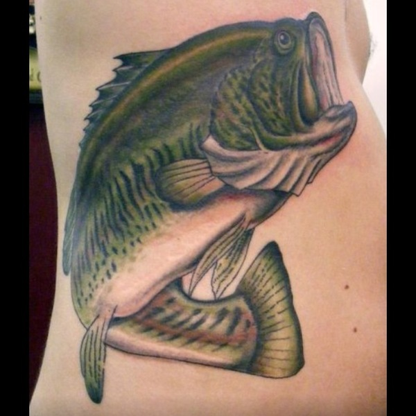 Tribal largemouth bass tattoos